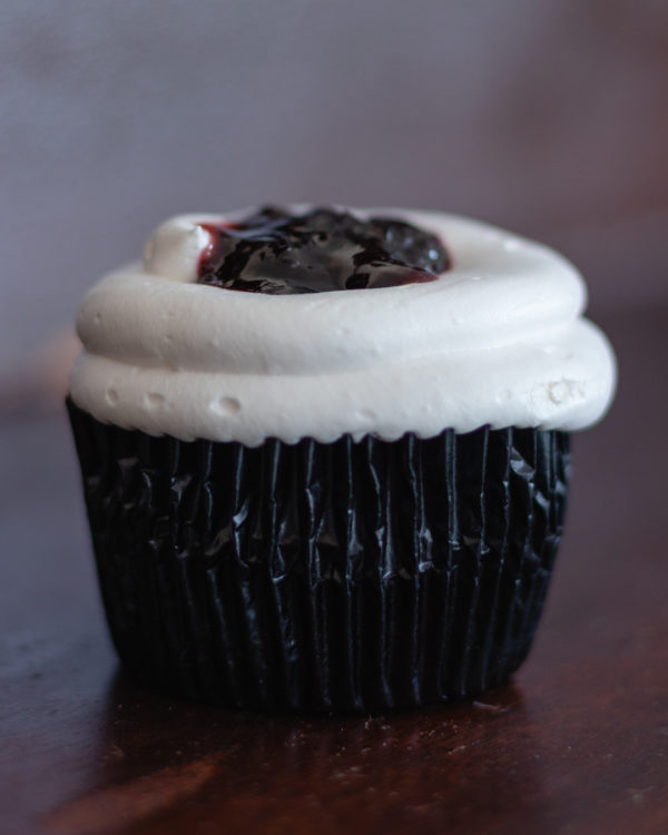black cherry cheesecake cupcake