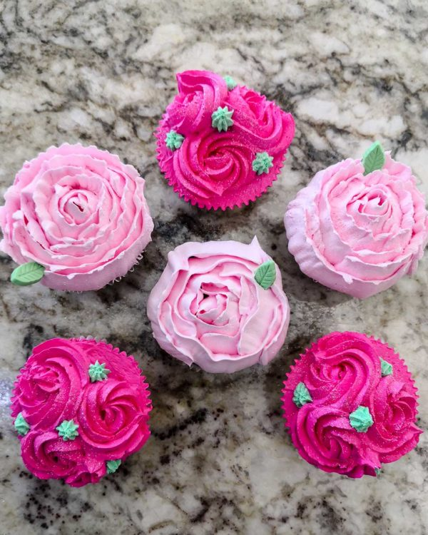 Pink Flower Swirl Cupcakes