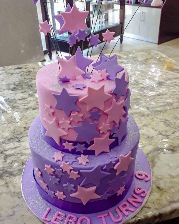 star decorated cake