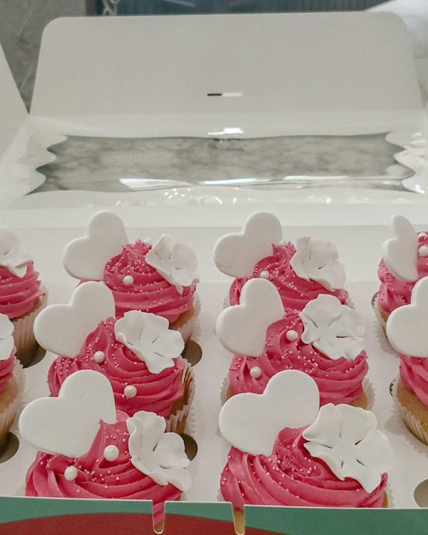 White Heart & Flower Cupcakes